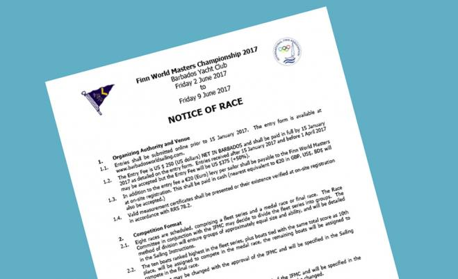 Notice of Race published for 2017 Finn World Masters